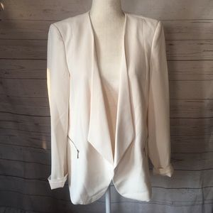 WHBM Tuxedo Blazer Jacket Sz 12 Ivory Open Front